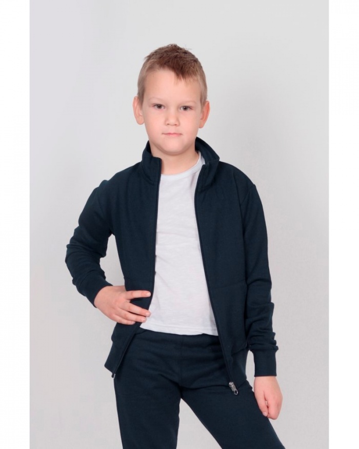 IT032 Stile bambino/a - jacket in felpa french terry zip lunga