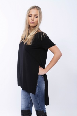 IT682 Stile Moda - maglia modal back longer scollatura tonda manica corta